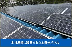 本社屋根に設置された太陽光パネル