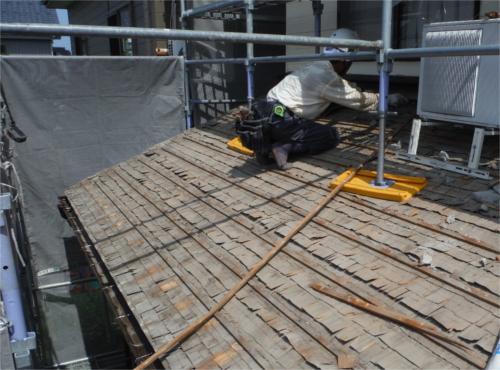 瓦屋根葺き替え:施工中